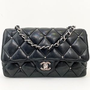 Authentic Chanel Classic Flap Studded Shoulder Bag
